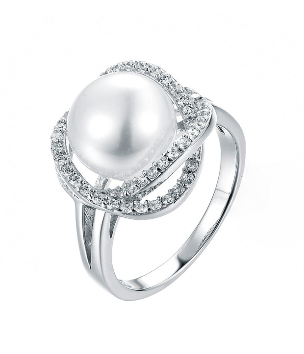 Crossed Halo Pearl Ring - Sonia Danielle