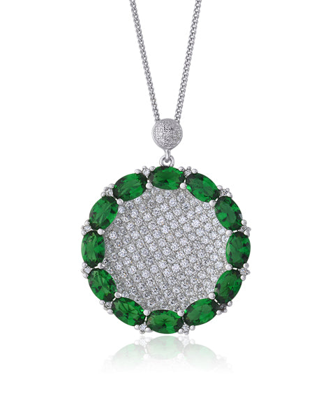 Oval Green Honeycomb  Pendant