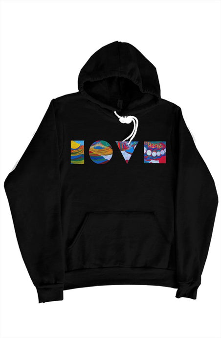 LOVE BLOCKS BLACK PULLOVER HOODY
