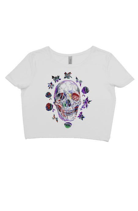 SKULL FLOWER WHITE CROP TEE