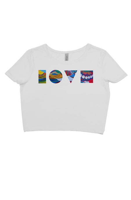 LOVE BLOCKS WHITE CROP TEE