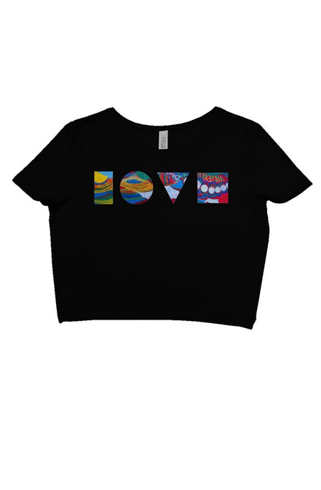 LOVE BLOCKS BLACK CROP TEE