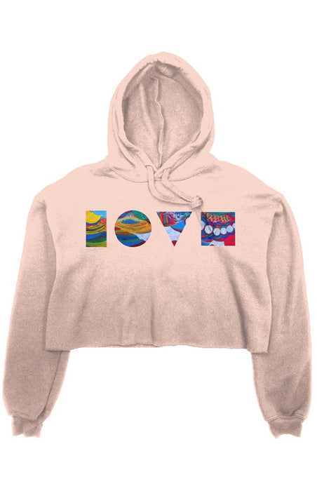 LOVE BLOCKS PEACH CROP FLEECE HOODIE