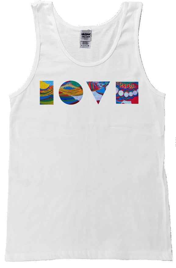 LOVE BLOCKS WHITE TANK TOP