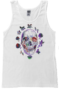 SKULL FLOWER WHITE TANK TOP