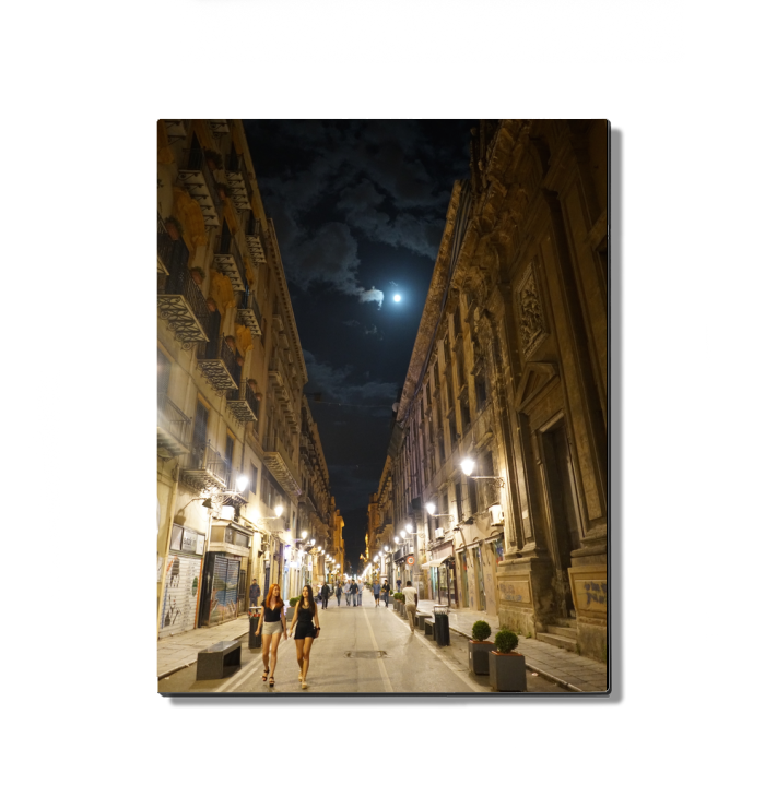 PALERMO SICILY BY NIGHT 8x10 METAL PRINT