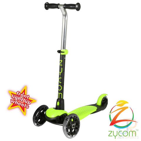 Zycom zing micro scooter with light up wheels - lime / black