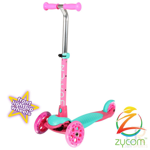 Zycom zing micro scooter with light up wheels - Teal / pink