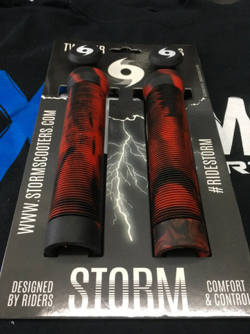 Storm Twister Scooter Grips - Red / Black