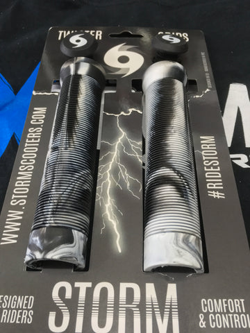 Storm Twister Scooter Grips - Black / White