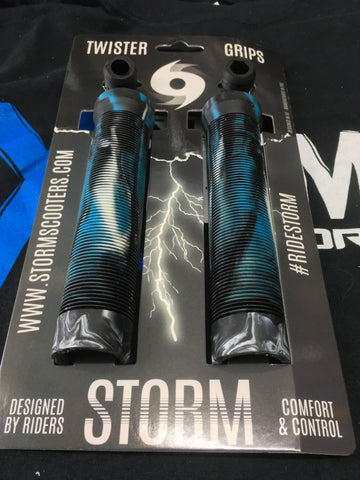 Storm Twister Scooter Grips - Black / White / Blue