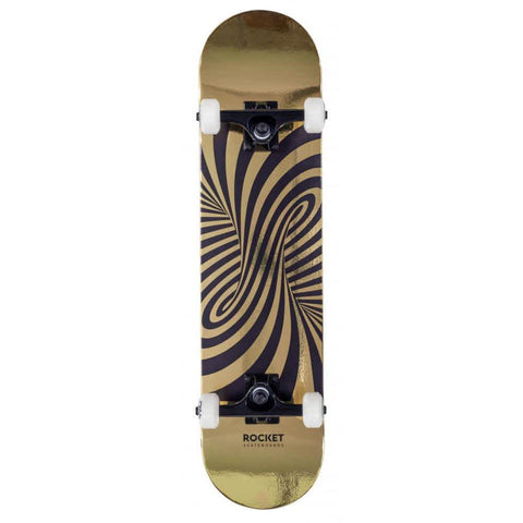 "Rocket Skateboards Twisted Foil  Complete  Skateboard 7.5"" Gold"