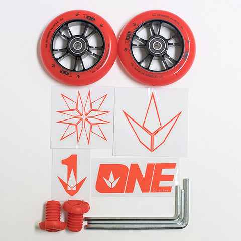 Blunt Envy One Colour pack 100mm Wheels Bar Ends + Stickers + Allen keys - Red