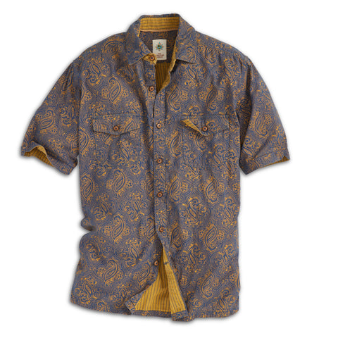 Short-Sleeve Indigo Sunset Paisley Doublecloth Shirt - Tall