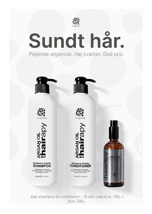 CYNOS SILVER TREE - ARGAN OIL SÆT. SHAMPOO 500ML & CONDITIONER 500ML.+ GRATIS OIL 100ML