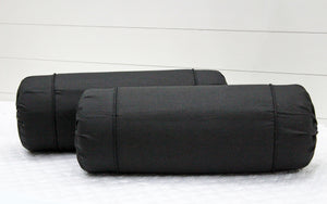 AURAVE Excel Cotton 2 Pieces Plain Bolster Cover Set - 15 X 30 inches, Black