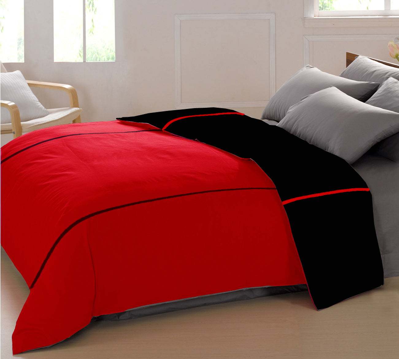 AURAVE Reversible Style Plain Black & Red 210 TC Mercerised Cotton Duvet Cover/Quilt Cover