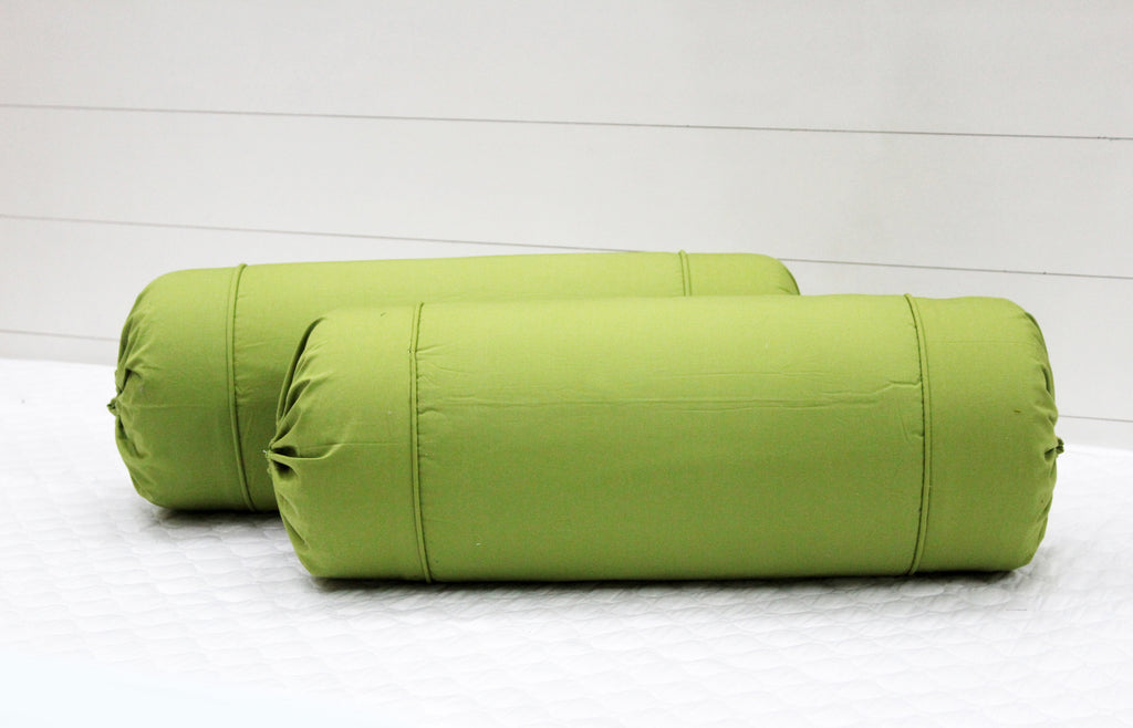AURAVE Excel Cotton 2 Pieces Plain Bolster Cover Set - 15 X 30 inches, Green