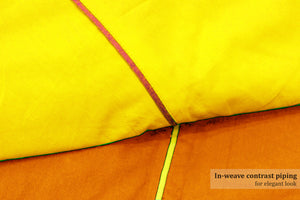 AURAVE Reversible Style Plain Yellow & Orange 210 TC Mercerised Cotton Duvet Cover/Quilt Cover