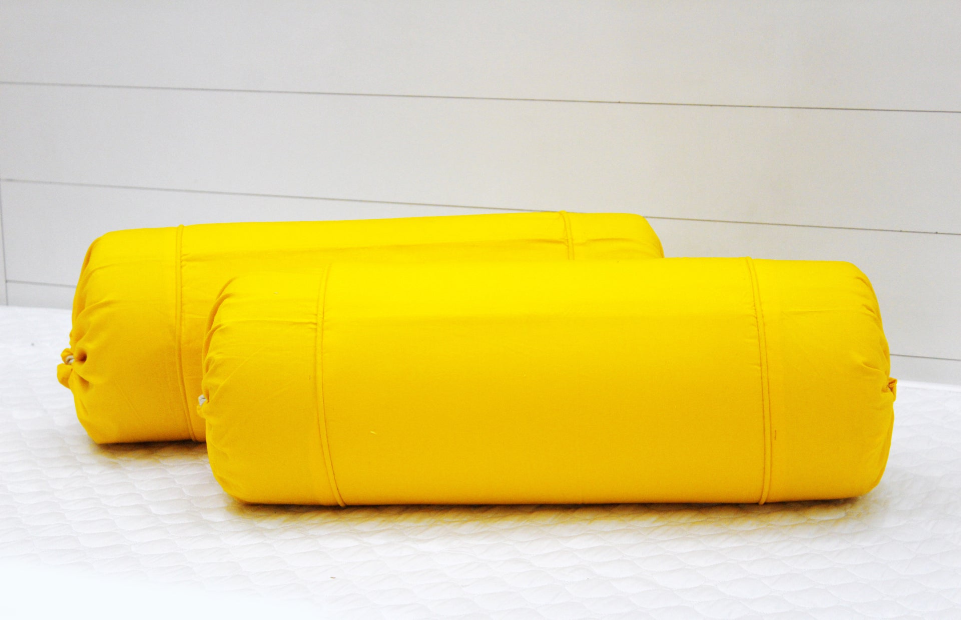 AURAVE Excel Cotton 2 Pieces Plain Bolster Cover Set - 15 X 30 inches, Yellow