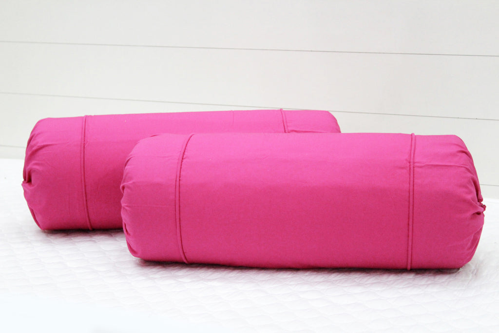 AURAVE Excel Cotton 2 Pieces Plain Bolster Cover Set - 15 X 30 inches, Pink