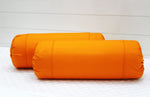 AURAVE Excel Cotton 2 Pieces Plain Bolster Cover Set - 15 X 30 inches, Orange