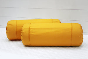 AURAVE Excel Cotton 2 Pieces Plain Bolster Cover Set - 15 X 30 inches, Mustard