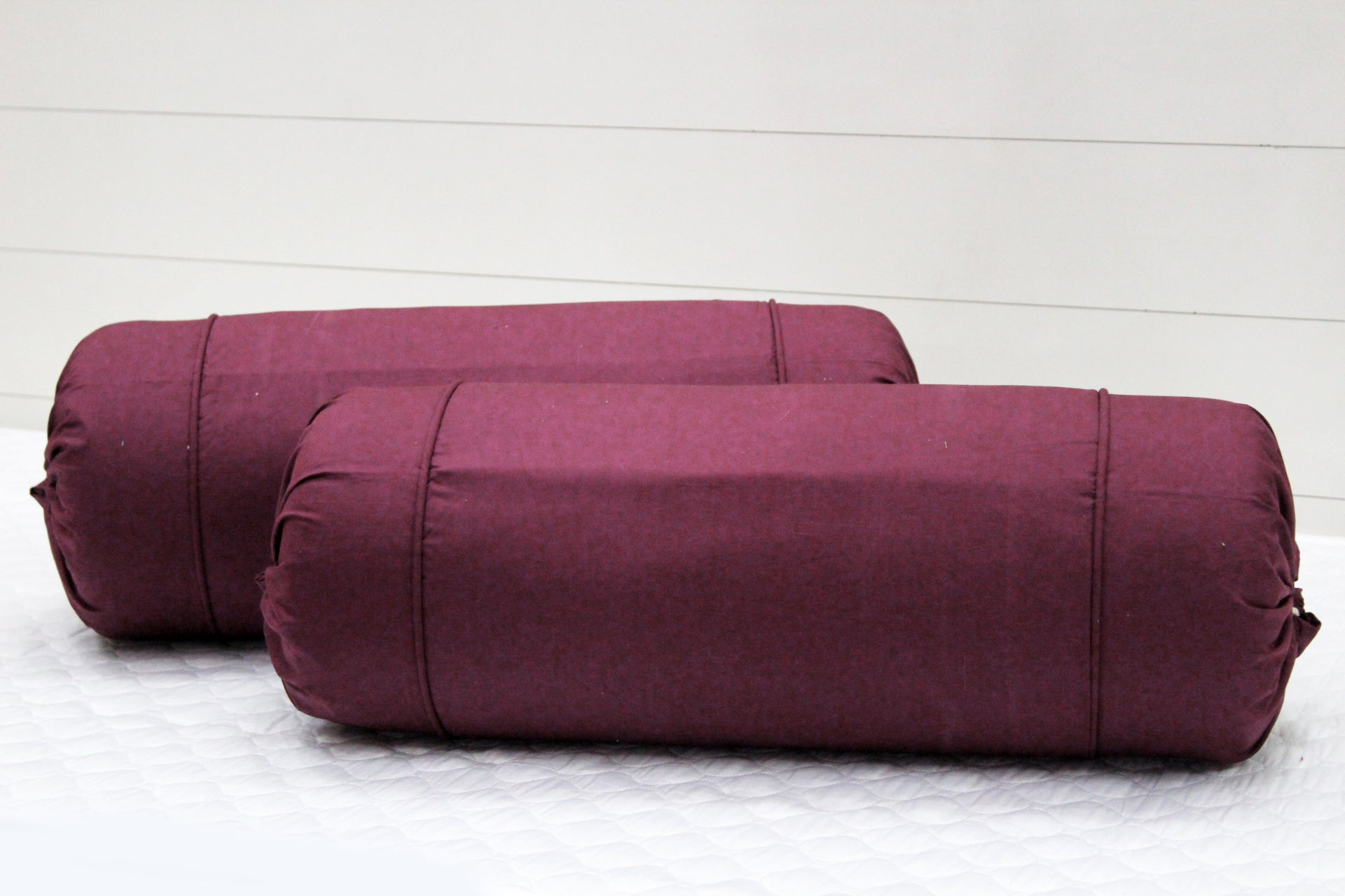 AURAVE Excel Cotton 2 Pieces Plain Bolster Cover Set - 15 X 30 inches, Burgundy