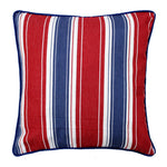 Mercerised Woven Cotton Stripes 6 Piece Diwan Set, Red & Blue
