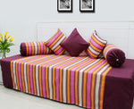 Mercerised Woven Cotton Stripes 6 Piece Diwan Set, Pink & Orange