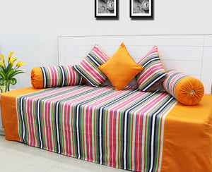 Mercerised Woven Cotton Stripes 6 Piece Diwan Set, Multi