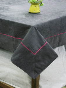 AURAVE Suede Microfibre Solid Plain Polyester Table Cloth - CHARCOAL