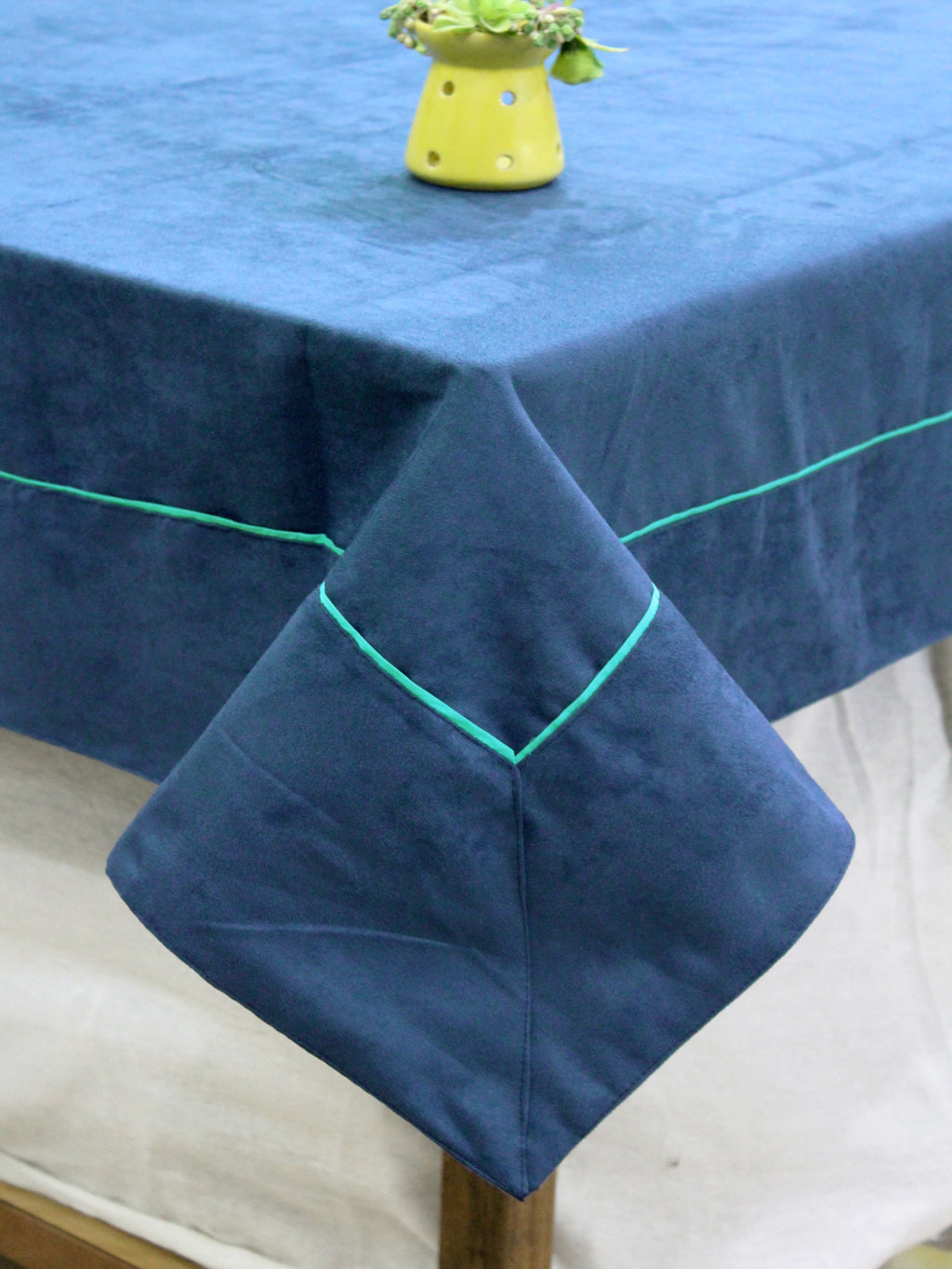 AURAVE Suede Microfibre Solid Plain Polyester Table Cloth - MARINE BLUE