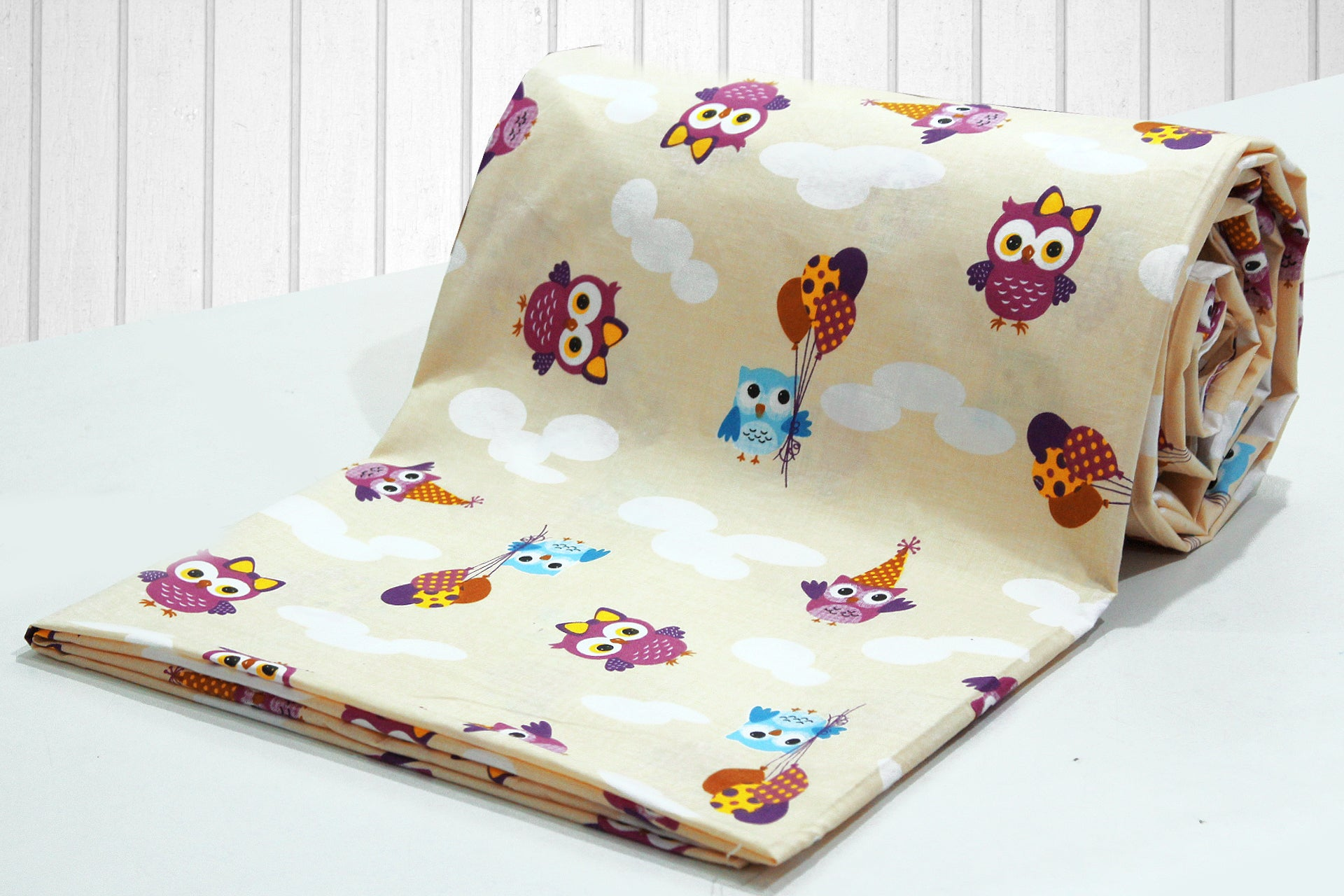 AURAVE Kids Funky Cream Owl Print 1 Piece Cotton Duvet Cover/Quilt Cover/Blanket Cover, Single Bed (with Zipper)