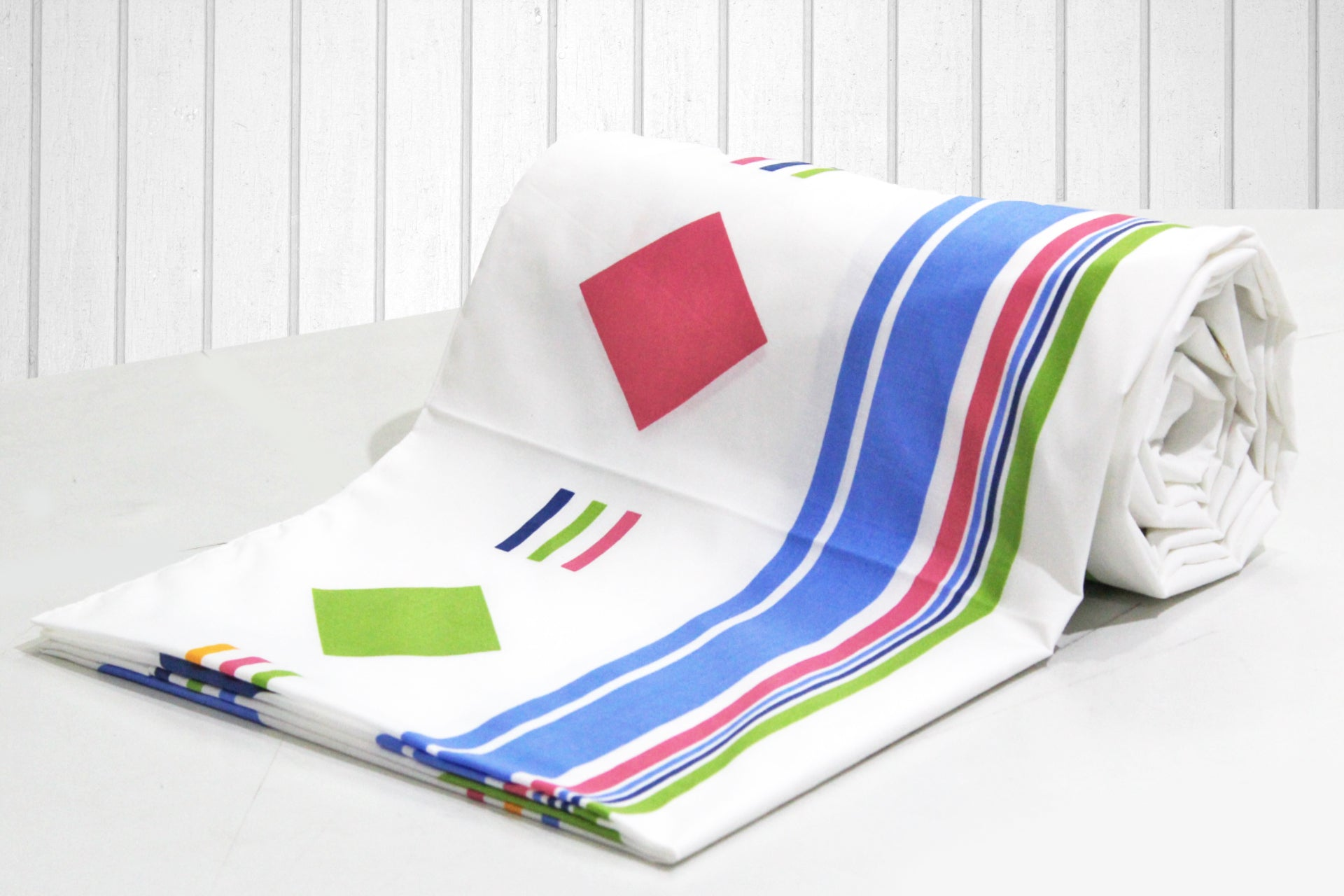 AURAVE Blue Stripes Geometrical Squares 1 Piece Cotton Duvet Cover/Quilt Cover/Blanket Cover, Single Bed (with Zipper)