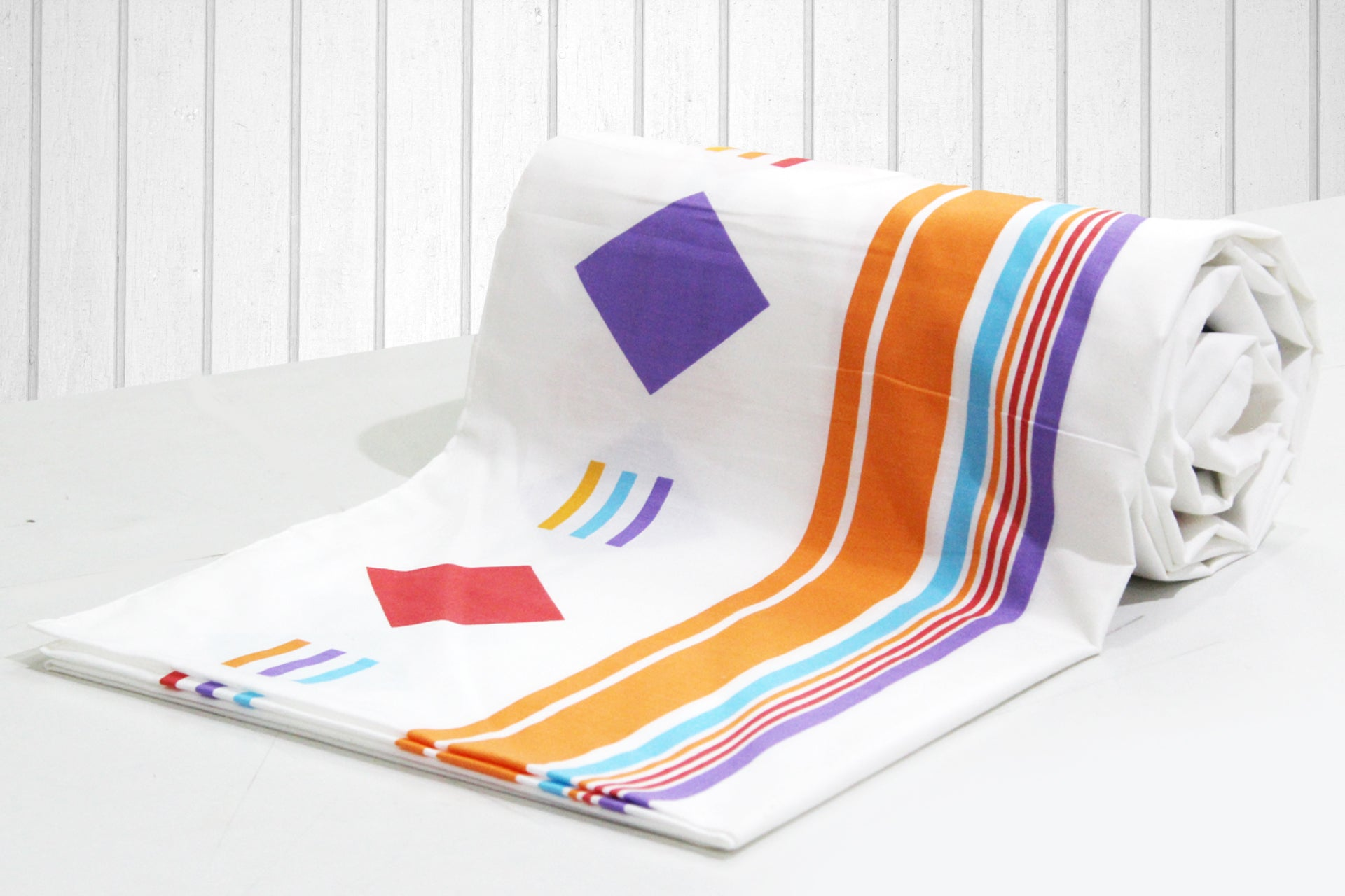 AURAVE Orange Stripes Geometrical Squares 1 Piece Cotton Duvet Cover/Quilt Cover/Blanket Cover, Single Bed (with Zipper)