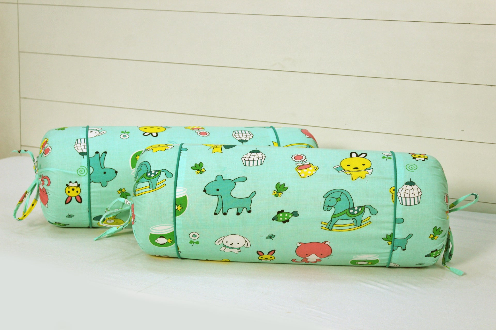 AURAVE Multicolor Funky Cotton 2 Pcs Bolster Covers, Green