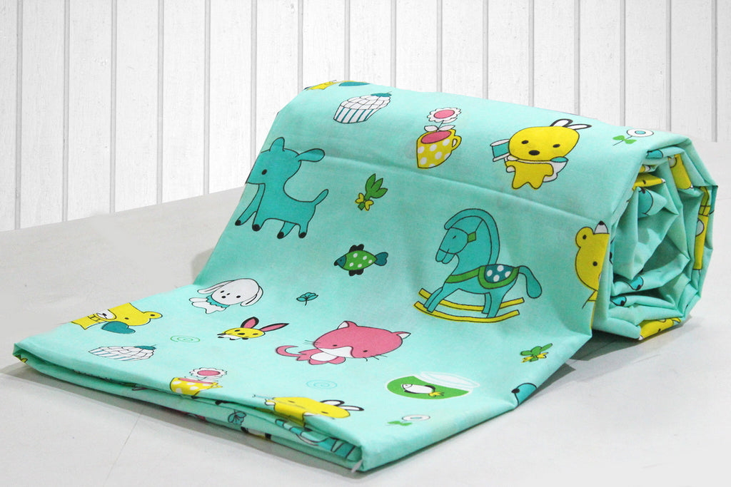 AURAVE Kids Funky Green Teddy Print 1 Piece Cotton Duvet Cover/Quilt Cover/Blanket Cover, Single Bed (with Zipper)