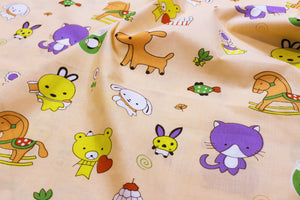AURAVE Kids Funky Peach Teddy Print 1 Piece Cotton Duvet Cover/Quilt Cover/Blanket Cover, Single Bed (with Zipper)