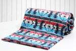 AURAVE Ikat Aqua & Red Reversible 1 Pc Cotton Duvet Cover/Quilt Cover/Blanket Cover - Single Size (with Zipper)