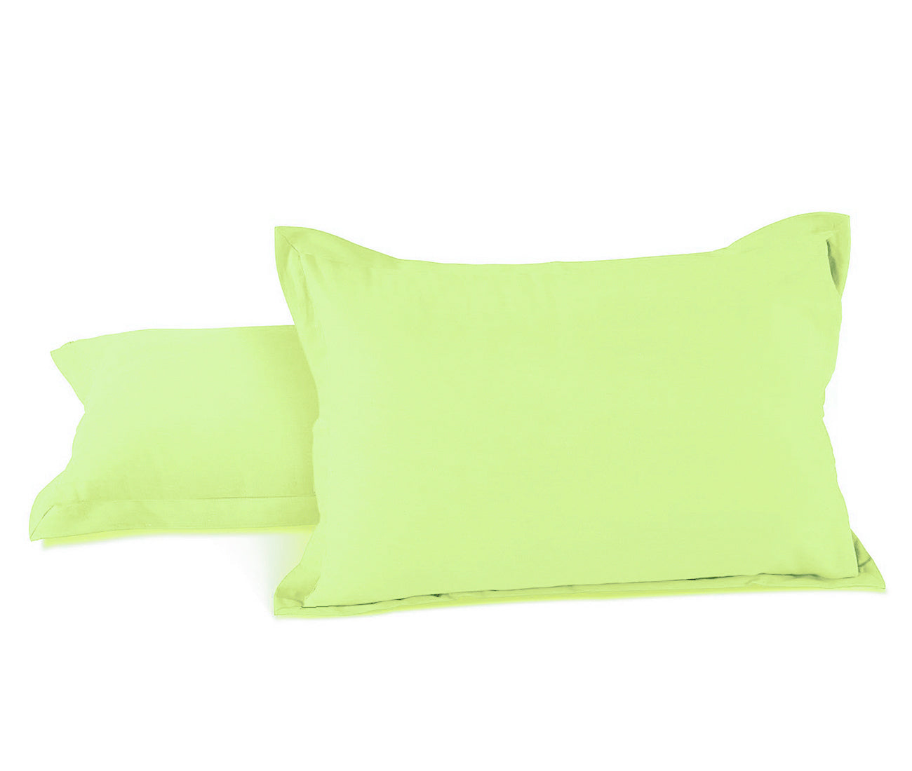 "Aurave Cotton Satin 400 TC Pillow Cover (18""x27""_Lime Green)"