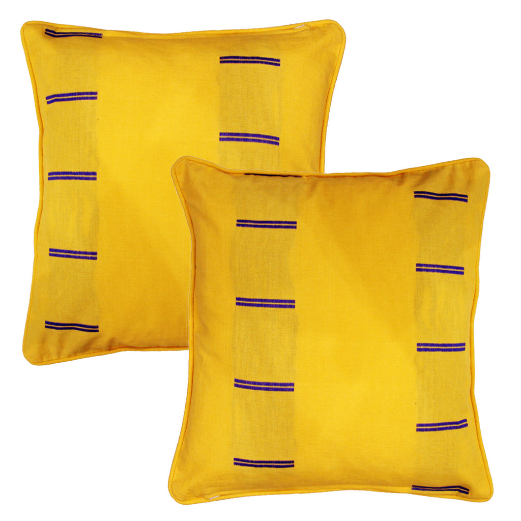 Woven Dobby Stripe Cotton Cushion Cover - Yellow & Blue