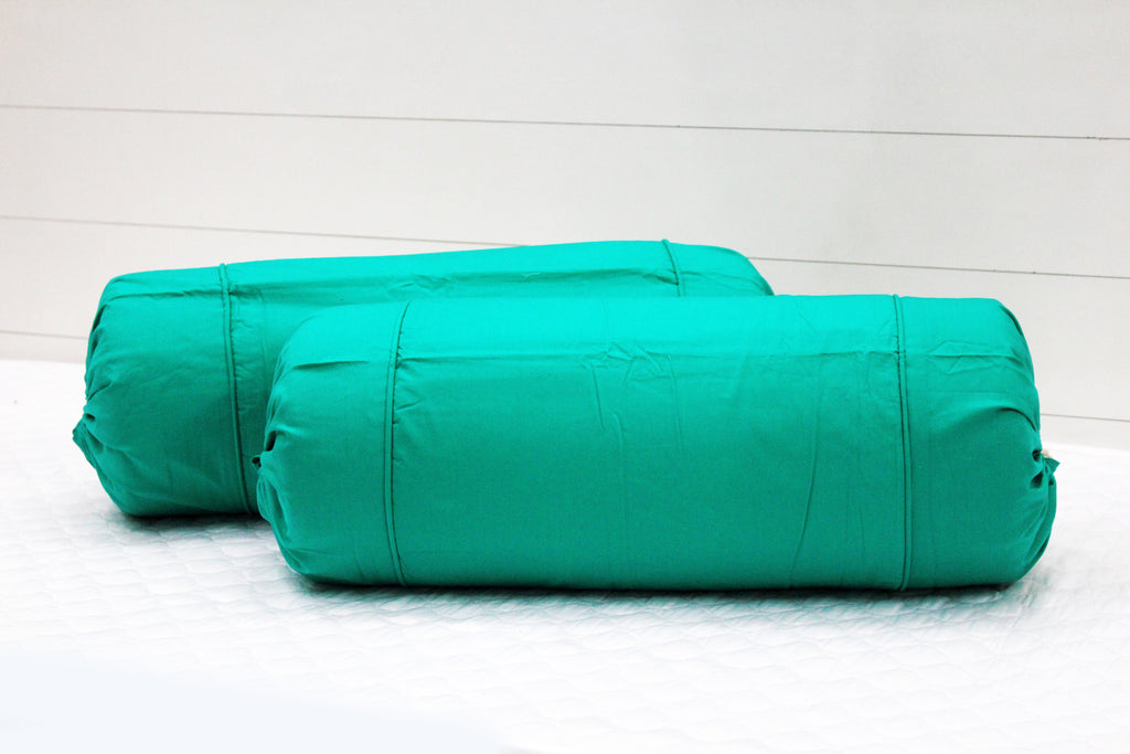 AURAVE Excel Cotton 2 Pieces Plain Bolster Cover Set - 15 X 30 inches, Aqua Green