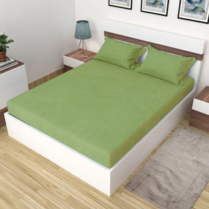 AURAVE Plain Cotton 210 TC Fitted Single Bedsheet - 36 x 72 inches - Green