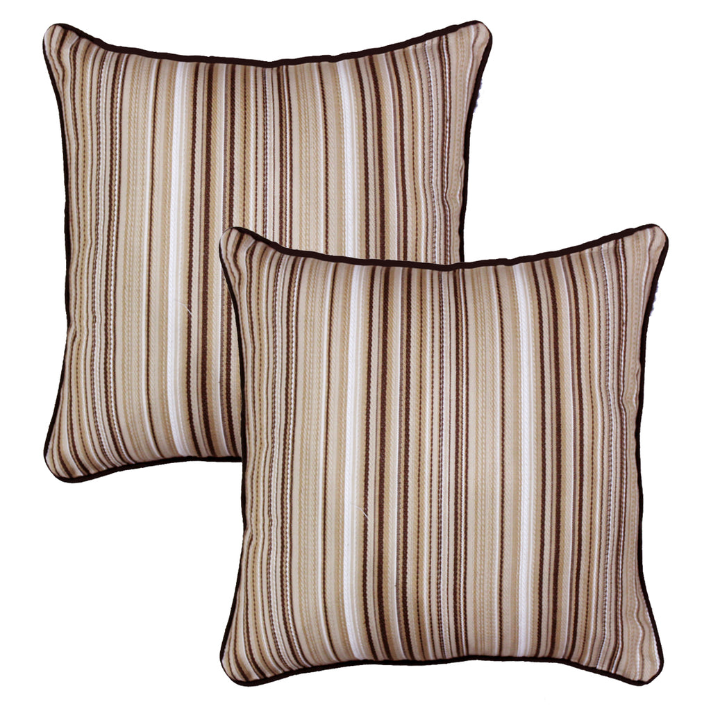 Woven Embossed Stripe Cotton Cushion Cover - Brown