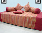 Mercerised Woven Cotton Stripes 6 Piece Diwan Set, Maroon