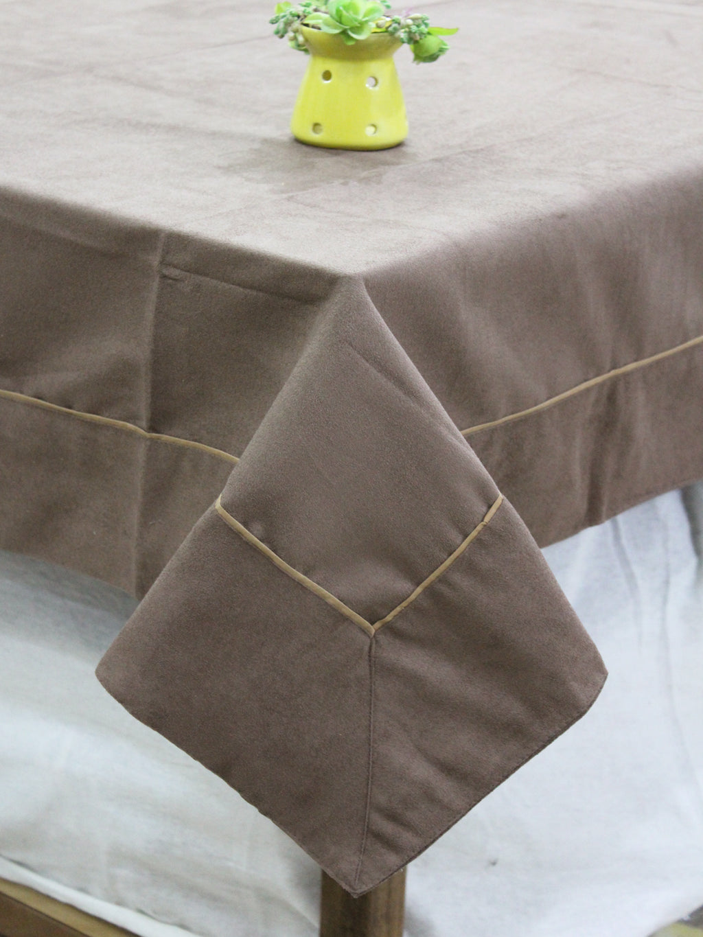AURAVE Suede Microfibre Solid Plain Polyester Table Cloth - STORM BROWN