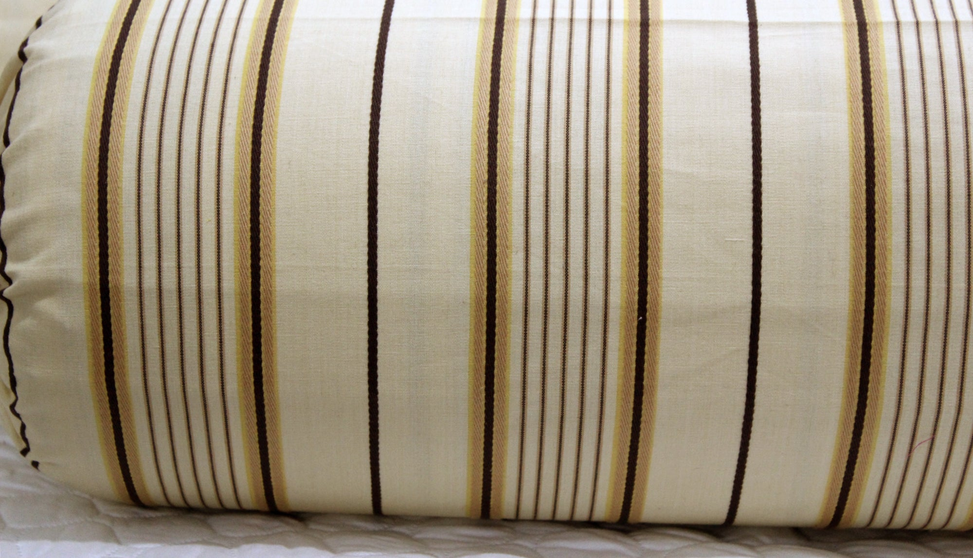 AURAVE Embossed Brown Stripes Cotton 2 Pcs Bolster Covers