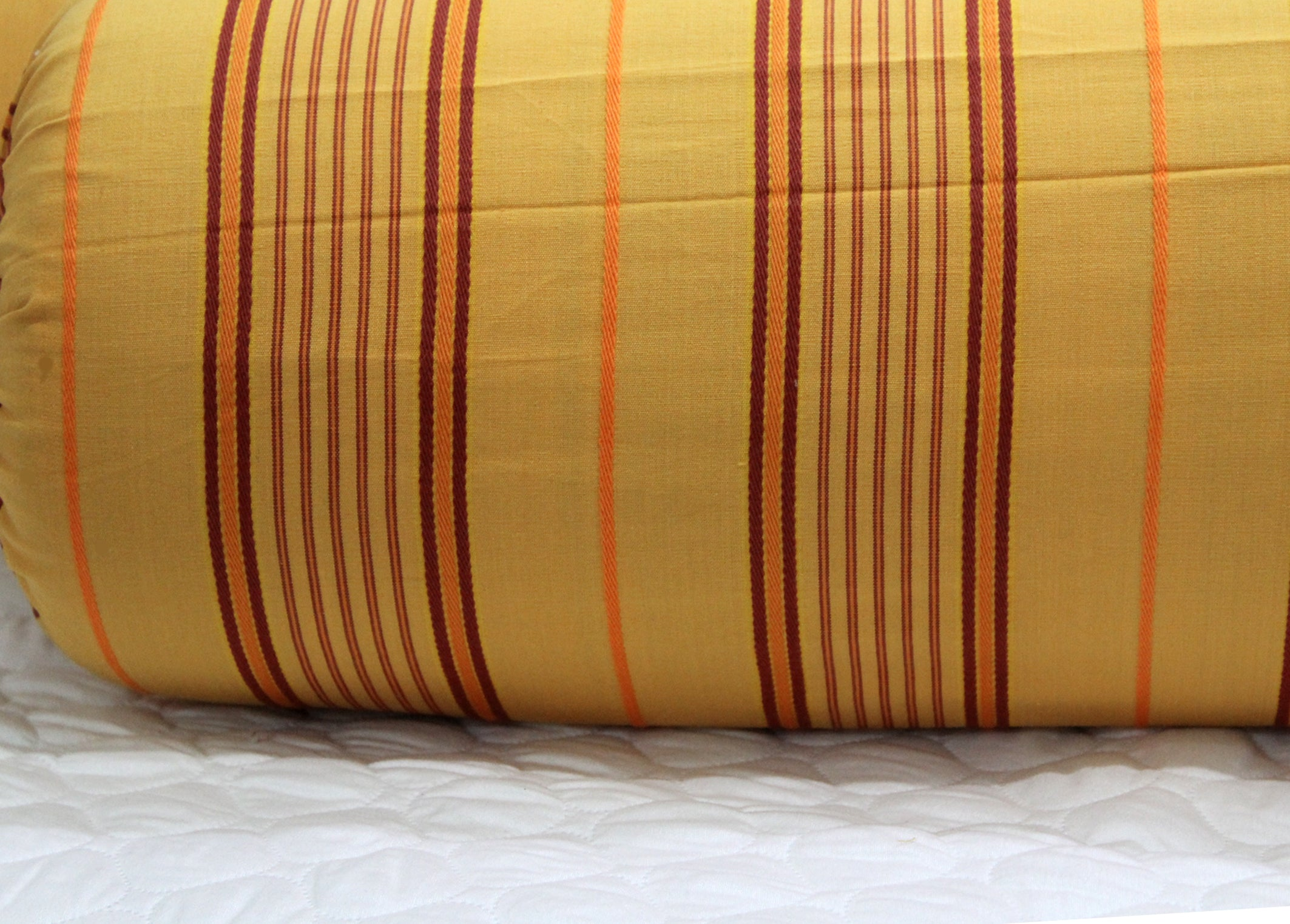 AURAVE Embossed Mustard Stripes Cotton 2 Pcs Bolster Covers