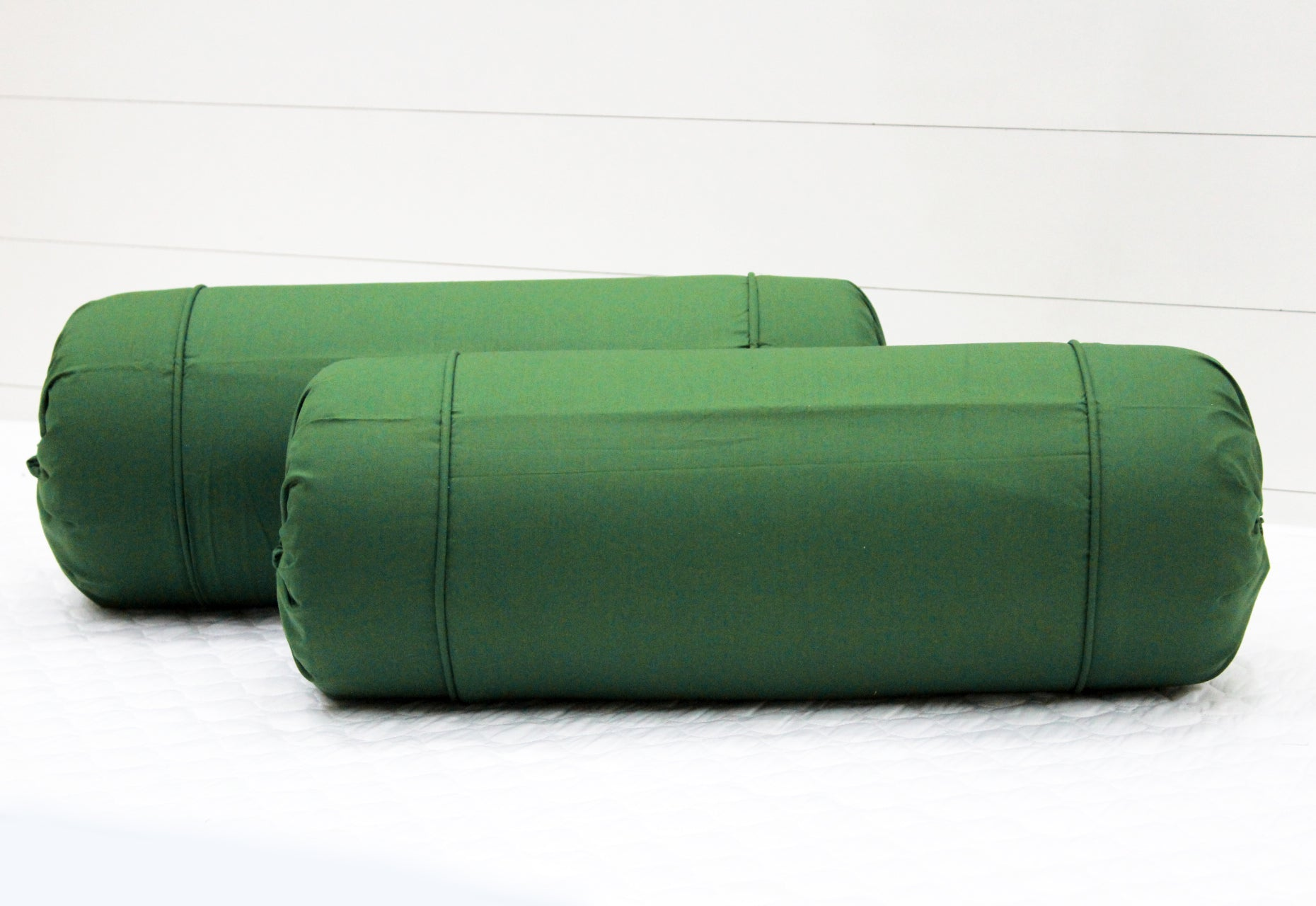 AURAVE Excel Cotton 2 Pieces Plain Bolster Cover Set - 15 X 30 inches, Bottle Green